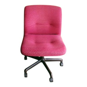 1980s Mid Century Modern Pink Wool Office Chair