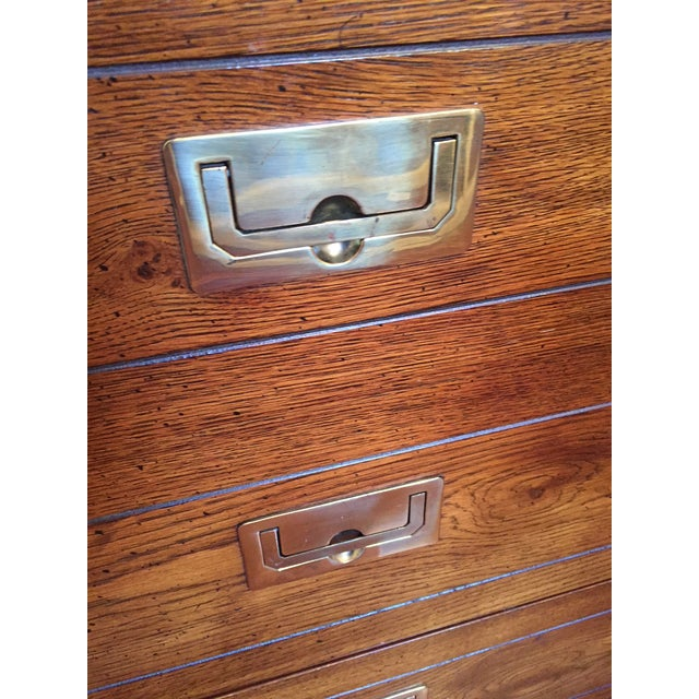 Campaign Style Henredon Pecan Double Armoire With Brass Pulls For Sale In San Francisco - Image 6 of 10