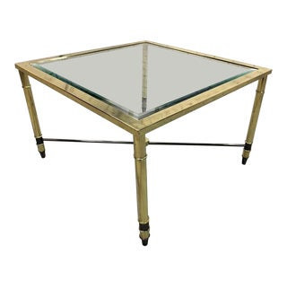 1970s Hollywood Regency Vintage Italian Design Coffee Table in Solid Brass and Glass For Sale