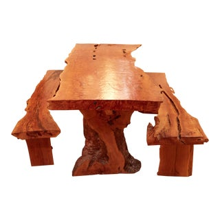 Lychee Wood Dining Room Table Made in Bali For Sale
