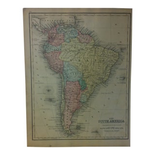 """Antique Mitchell's New School Atlas Map, """"South America"""" by e.h. Butler Publishers - 1865 For Sale"""