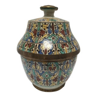 Moroccan Ceramic Glazed Storage Tureen Jar with Cover Handcrafted in Fez, Morocco For Sale