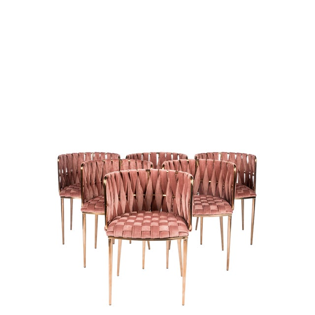 Modern Milano Rose Velvet and Gold Dining Chairs - Set of 6 For Sale