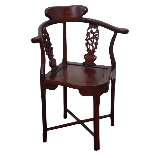 Chinese Rosewood Carved Corner Arm Chair - Image 1 of 10