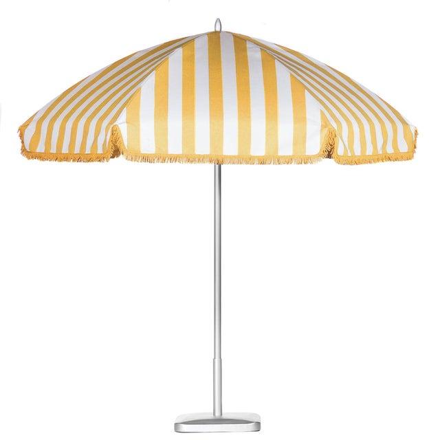 Monte Carlo Gold 9' Patio Umbrella, Light Yellow & White For Sale - Image 4 of 4
