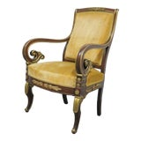 Image of 19th Century Antique Empire Mahogany Gold Gilt Ormolu Mounted Chair For Sale