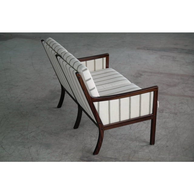 Danish Midcentury Mahogany Settee or Loveseat by Ole Wanscher for Poul Jeppesen For Sale In New York - Image 6 of 10