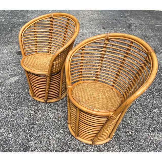 Vintage Coastal Rattan Side Chairs - a Pair For Sale - Image 4 of 7