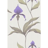 Image of Cole & Son Orchid Wallpaper Roll - White/M For Sale