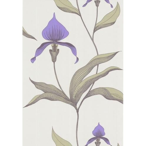 Cole & Son Orchid Wallpaper Roll - White/M For Sale