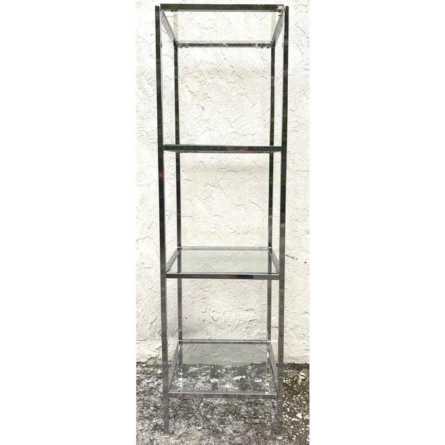 Milo Baughman Style Tall Chrome and Glass Column Étagère For Sale - Image 9 of 10