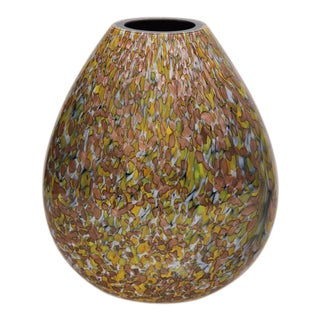 Signed Crepax Murano Glass Vase in Olive and Copper Metallic For Sale
