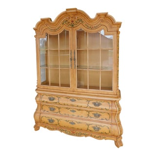 Henredon Vienesse Collection Paint Decorated 2pc Lighted Cabinet For Sale