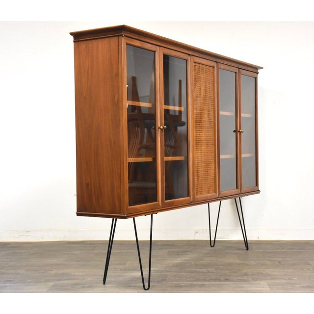 Mid-Century Modern Walnut and Cane Mid Century Bookcase For Sale - Image 3 of 11