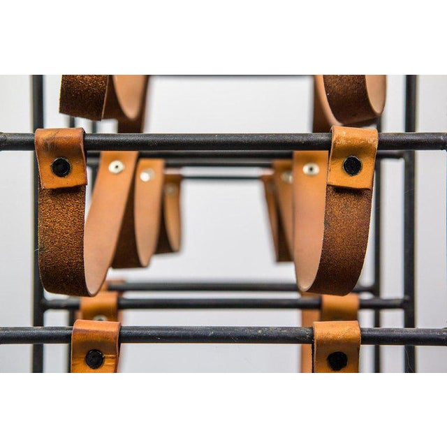 1950s Pair of Iron and Leather Wine Racks by Arthur Umanoff, 1950s For Sale - Image 5 of 9