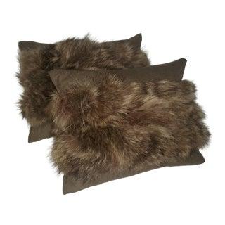Classic Raccoon and Khaki Green Linen Pillows - a Pair For Sale