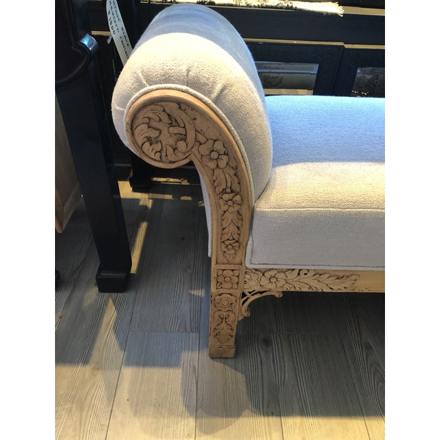 Boho Chic Asian Carved Wood Upholstered Bench For Sale - Image 3 of 10