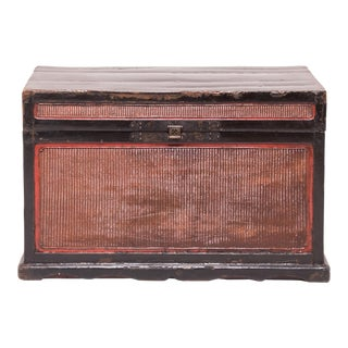 19th Century Chinese Finely Woven Trunk For Sale