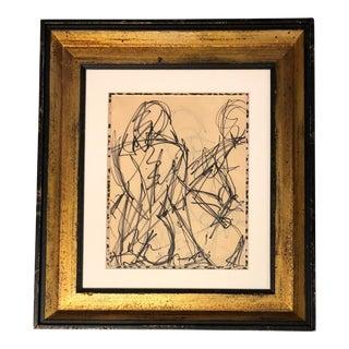 Vintage Female Nude Ink Sketch Original Framed For Sale