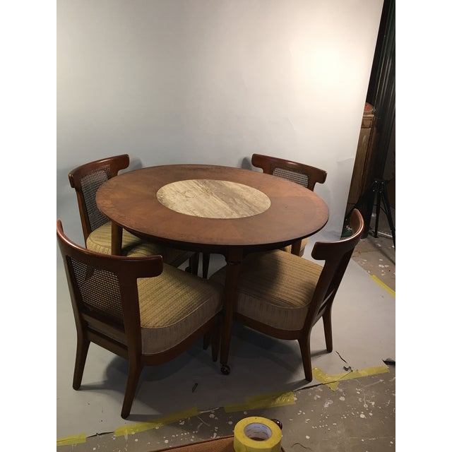 Mid-Century Round Marble Insert Dining Table & Chairs - Image 2 of 11