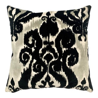 FirmaMenta Italian Black and White Ikat Velvet Pillow For Sale