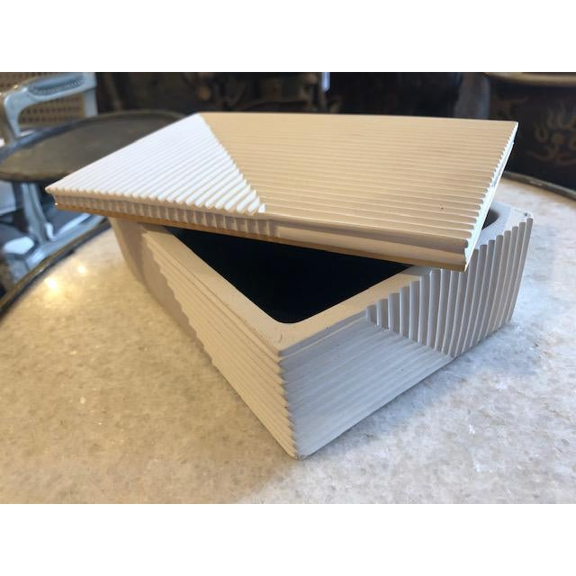 Modern Cream Cement Box For Sale - Image 4 of 6