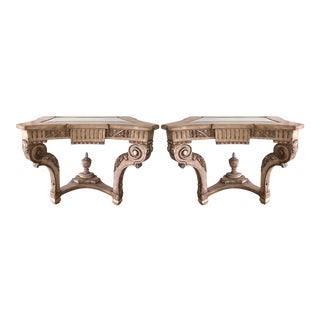 Regency Style Carved Italian Giltwood Console Tables - a Pair For Sale