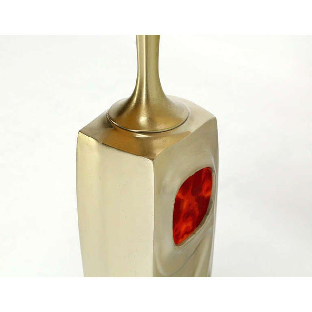 Mid-Century Modern Mid-Century Modern Art Nouveau Style Cast Metal Table Lamp For Sale - Image 3 of 10