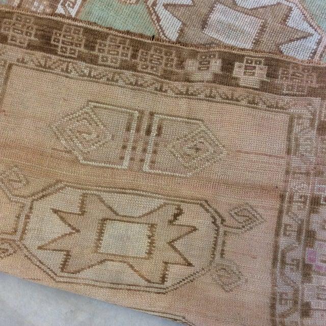 "Vintage Turkish Anatolian Runner Sea Green 7'9""x3' For Sale - Image 10 of 11"