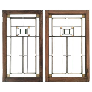 1910s Vintage Prairie School Period Stained Glass Windows- a Pair For Sale