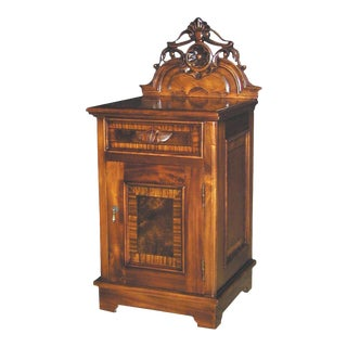 New Victorian Nightstand Carved Mahogany Burl For Sale