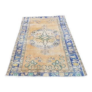 1970s Vintage Distressed Handmade Oushak Rug- 3′5″ × 6′8″ For Sale