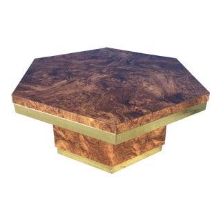 Mersman Hexagon Burl & Brass Coffee Table For Sale