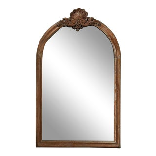 French Antique Carved Wood 7.5 Ft. Standing Mirror For Sale