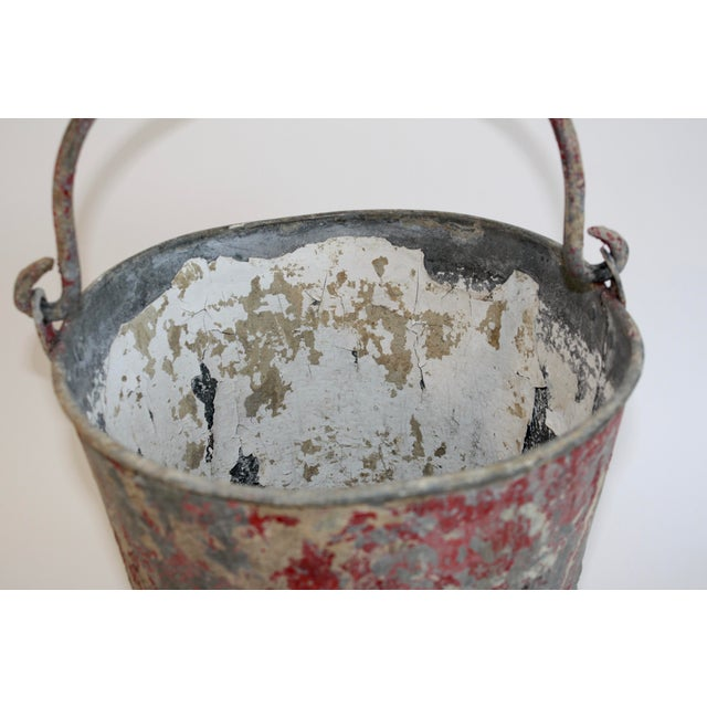 Industrial Vintage Red Fire Brigade Bucket For Sale - Image 3 of 6