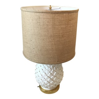 1940s White Ceramic & Brass Pineapple Artichoke Table Lamp With Burlap Shade