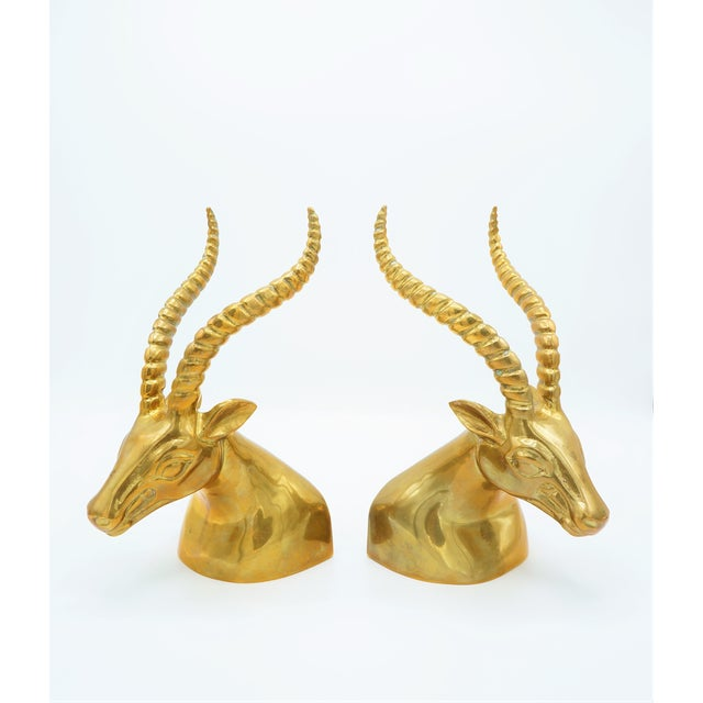 Brass Modernist Sculptural Brass Gazelle Bookends - a Pair For Sale - Image 8 of 8