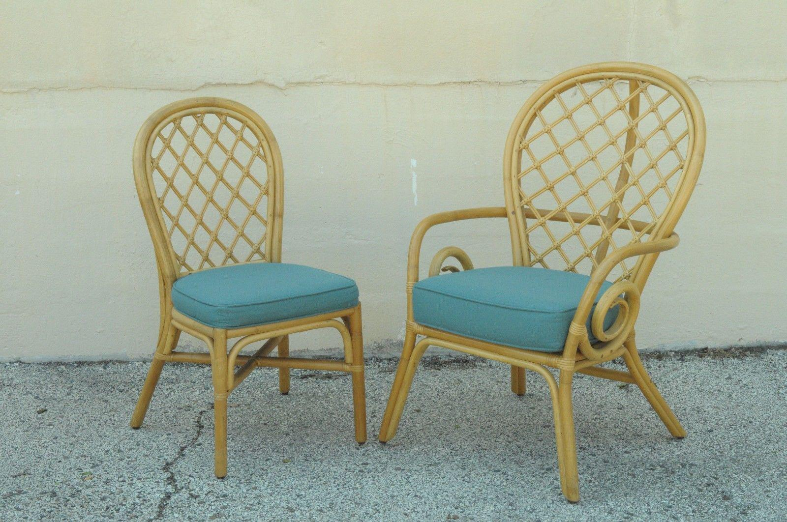 Set 6 Vintage Rattan Bamboo Dining Chairs Beach House Hollywood Regency  Sunroom   Image 3 Of