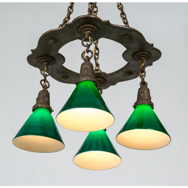 Arts & Crafts Hammered Darkened Metal Chandelier With Green Glass Shades For Sale - Image 4 of 12