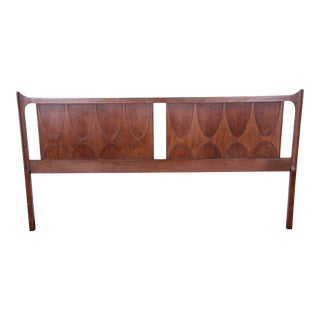 Broyhill Brasilia Mid-Century Modern Sculpted Walnut King Size Headboard For Sale