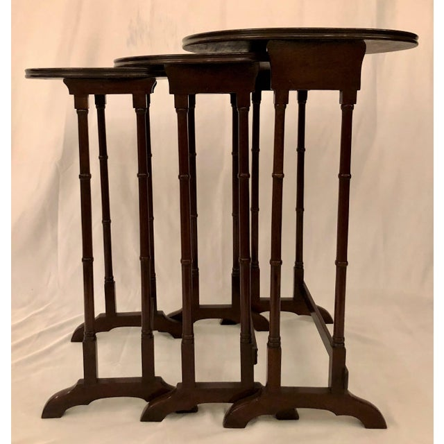 Mahogany Antique English Mahogany Nest of Tables With Delicate Inlay. For Sale - Image 7 of 8