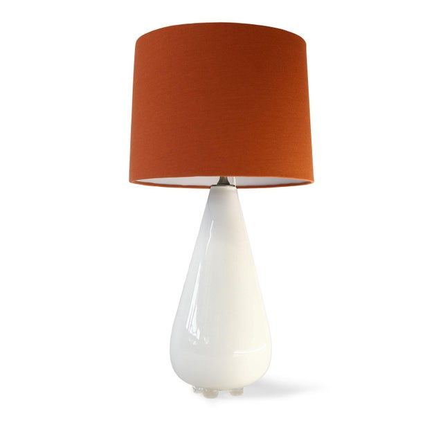 White Glass Table Lamp For Sale - Image 10 of 10