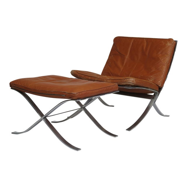 Steen Ostergaard Steel and Leather Lounge Chair & Foot Stool For Sale