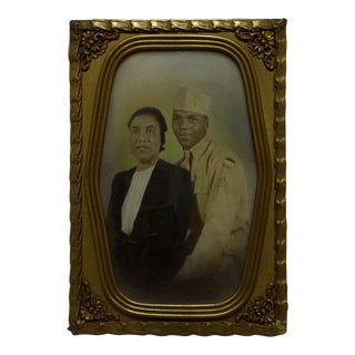 "Vintage Bubble Glass Framed ""Black Soldier and His Wife"" Black & White Photograph For Sale"