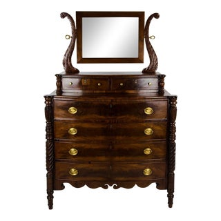 19th Century American Empire 6-Drawer Mahogany Vanity Dresser For Sale