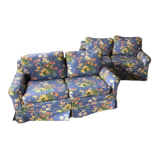 Blue Floral Slipcovered Loveseats - a Pair For Sale