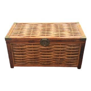 Mid Century Wicker Trunk With Brass Hardware For Sale