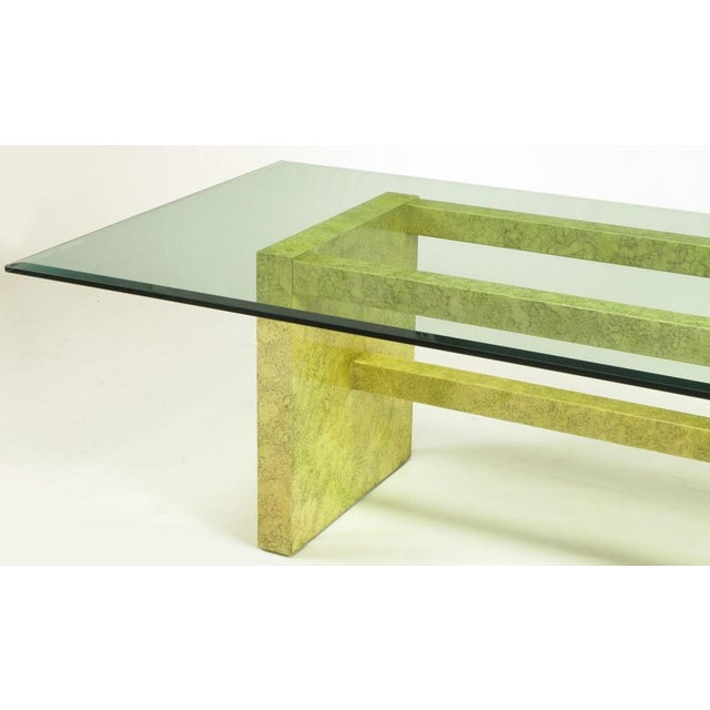 Henredon Circa 75 Glass & Marbleized Base Dining Table For Sale In Chicago - Image 6 of 8