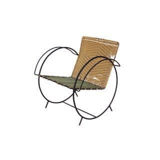 Iron Hoop Chair With Canvas Seat and Wicker Back