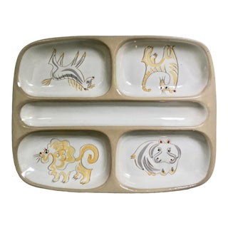 """Ernest Sohn for Glidden Pottery """"Menagerie"""" Glazed Ceramic Divided Tray 1950's For Sale"""